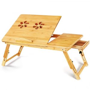 Bamboo Laptop Wooden Table With Two Fans Large Size | LaptopLelo